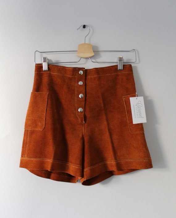 1980s Suede Shorts / Vintage 70s 80s Brown Suede S