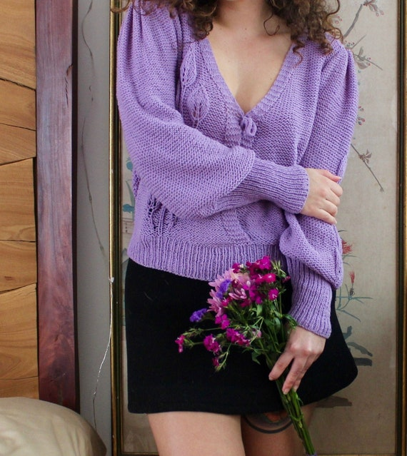 1980s Sweater / Vintage 80s Floral Puff Sleeve Swe