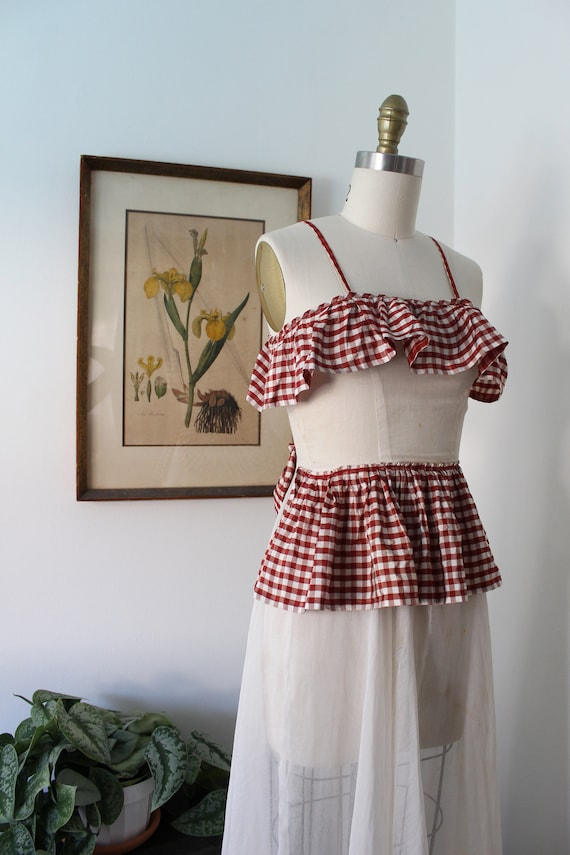 1930s Sheer Gown / Vintage 30s Cotton and Plaid Dr