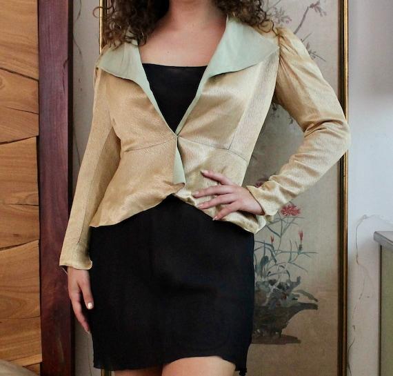 1930s Gold Jacket / Vintage 30s Lamé Jacket / XS