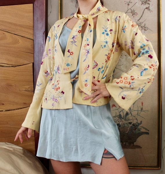 1920s Embroidered Jacket / Antique 20s 30s Silk Ja