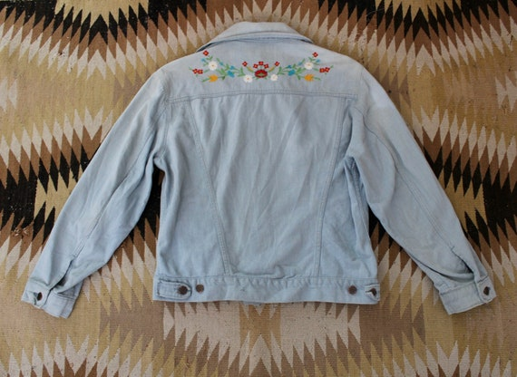 1970s Denim Jacket / Vintage 70s 80s Embroidered J