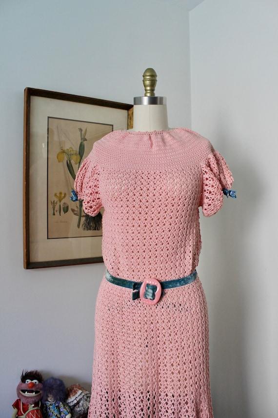 1930s Knit Dress / Vintage 30s Pink Crochet Dress