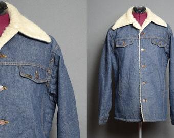 c6a2239c99 60 s Jean Jacket 1960 s Denim Coat Sears Roebucks Cowboy Wrangler Style  Size L Mens Unisex Womens Vintage Size Large L
