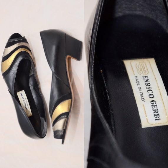 Enrique Gerbi cuero bombas Vintage zapatos oro negro Made in  83785e4989592