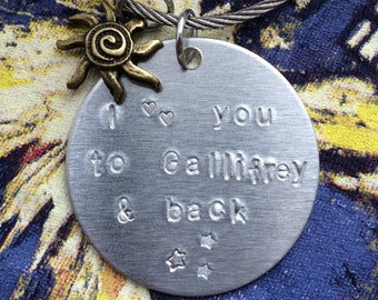 Doctor Who custom key chain: I love you to Gallifrey and back - you personalize the location. A perfect gift for your favorite Whovian!