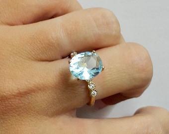 SALE! Aquamarine ring,diamond ring,prong setting ring,14k gold filled ring,gemstone ring,wedding ring,march birthstone ring,cocktail ring
