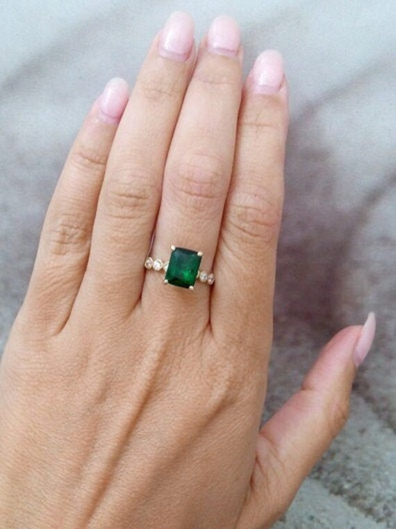 Sterling Silver Ring.Green Emerald Ring.Engagement Ring.Wedding Band.Statement Ring.Bridal Sets.Cocktail Rings.Handmade Rings.Gifts.R141-150