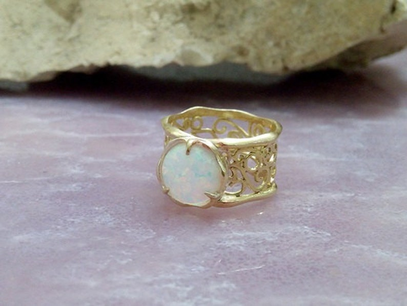 gold ring,cocktail ring delicate ring SALE bridesmaid gift Filigree ring,white opal ring gold wide ring,Lace ring