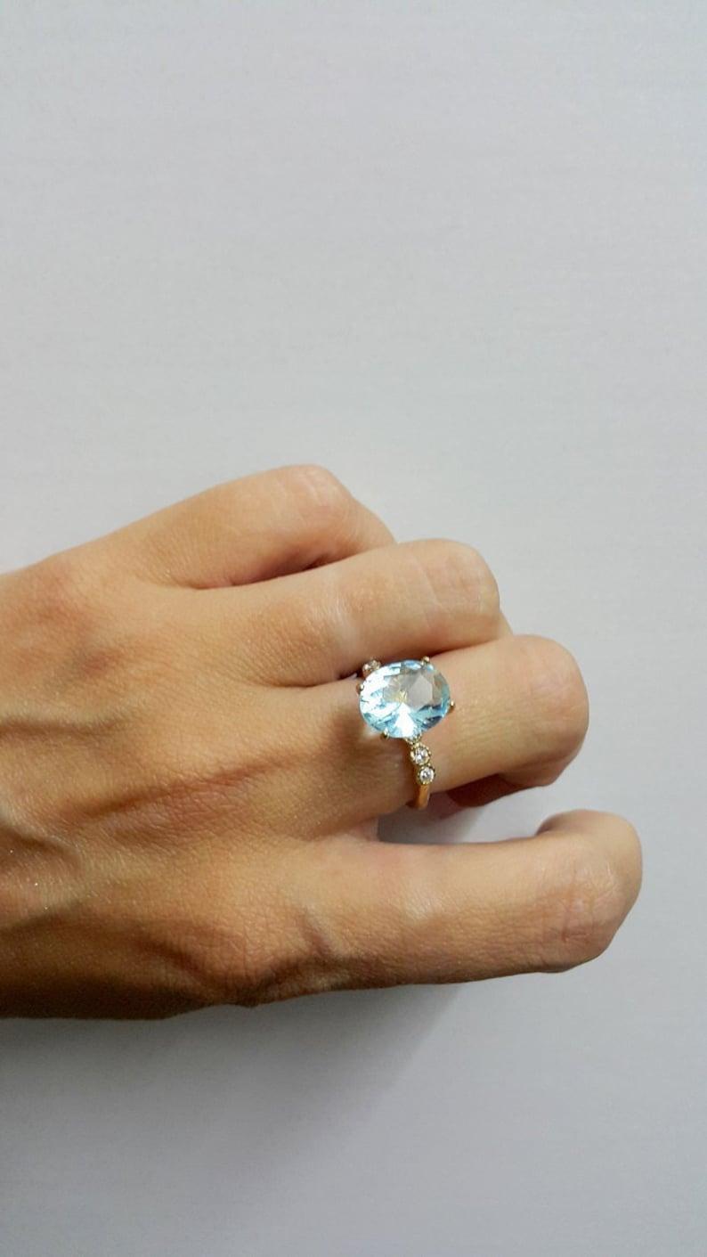 SALE Aquamarine ringdiamond ringprong setting ring14k gold image 0