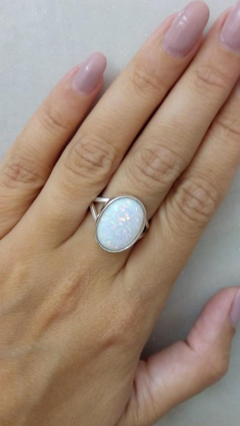 SALE Opal ringwhite opal ringstatement oval ringsterling image 0
