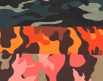 "60"" Microfiber Camouflage Camo Print Green, Orange, Pink, 100% Polyester 6 OZ Apparel &  Woven Fabric By the Yard"