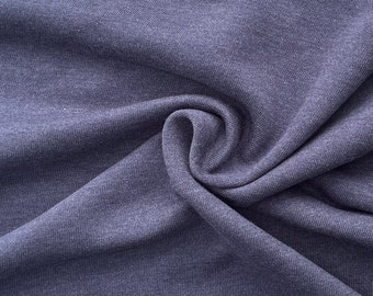 """58"""" 100% Cotton Fleece Solid Dark Indigo Navy Blue for Apparel & Sweaters Heavy French Knit Fabric By the Yard"""