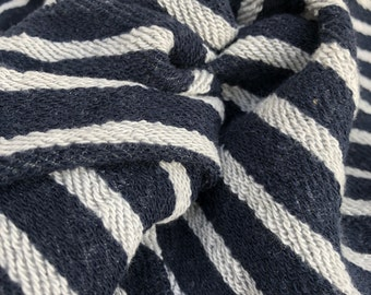 "74"" 100% Cotton Striped French Terry Cloth Denim Blue with White Stripes Yarn Dyed Heavy Double Knit Fabric By the Yard"
