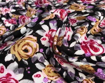 """60"""" Modal Spandex Lycra Elastane Stretch Rainbow Flower Floral Rose Black, Yellow, Red, & White Jersey Knit Fabric By the Yard"""