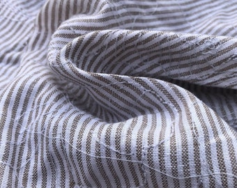 """60"""" Brown 100% Linen Striped Floral Flower Embroidered Woven Fabric By the Yard"""