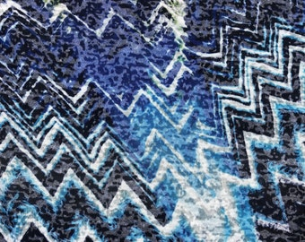 "54"" Devore Burn Out Cotton & Polyester Geometric Blue Multicolor White Knit Fabric By the Yard"