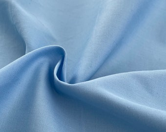 "60"" 100% Cotton Pima Sky Blue Yarn Dyed Apparel Woven Fabric By the Yard"