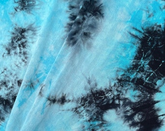"""60"""" Bamboo 4-Way Stretch with Spandex Arctic Bright Blue & Black Tie Dye Tie Dyed Apparel Jersey Knit Fabric By the Yard"""