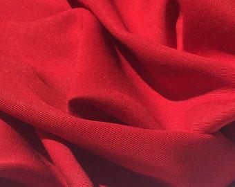 "60"" 100% Lyocell Tencel Gabardine Twill Medium Weight Firetruck Red Woven Fabric By the Yard"