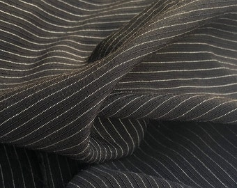 "58"" Cotton Lyocell Tencel Blend Striped Light Medium Weight Black & White Woven Fabric By the Yard"