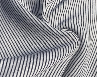 """60"""" Cotton Rayon Challis Striped Blue White Apparel & Facemask Woven Fabric By the Yard"""