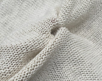 "48"" 100% Cotton Ivory Sweater Knit Apparel Fabric By the Half-Yard"