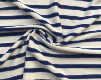 "62"" Modal  Spandex Stretch Blue & White Striped Yarn Dyed Jersey Knit Fabric By the Yard"