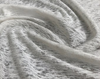 "60"" 100% Cotton Slub 5 OZ Optic White Jersey Knit Fabric By the Yard"
