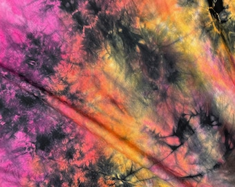 """60"""" Bamboo 4-Way Stretch with Spandex Passionfruit RainbowTie Dye Tie Dyed Apparel Jersey Knit Fabric By the Yard"""