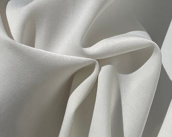 """58"""" Rayon Stretch Gabardine with Spandex 8 OZ Off White Woven Fabric By the Yard"""