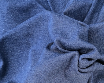 "58"" Cotton Modal Fleece Blend Solid Dark Navy Apparel French Knit Fabric By the Yard"