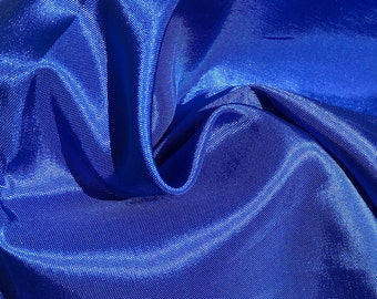 "62"" Ocean Blue Glossy Shiny 100% Polyester Woven Fabric By the Yard"