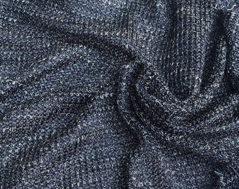 "54"" Metallic Rayon Spandex  Shiny Glitter Sparkle Lame Rolex Mesh 4-Way Stretch Blue Light Knit Fabric By the Yard"