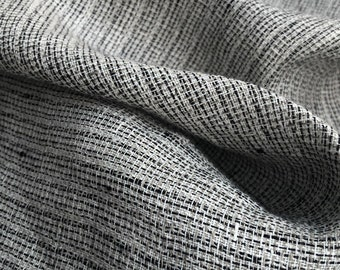 """54"""" CLOSEOUT STAINED — 100% Linen Flax Gray & Black Heavy Striped Lithuanian Woven Fabric By the Yard"""