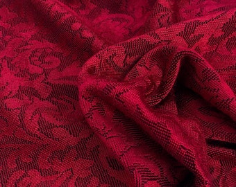 """52"""" Rayon Spandex Elastane Lycra Stretch Silky Rose Red Flower Floral Jacquard Knit Fabric By the Yard"""
