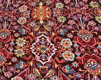 """60"""" Rayon & Spandex  Stretch Persian Rug Design Multicolor Red Floral Flower Print Apparel Jersey Knit Fabric By the Yard"""