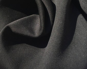 "60"" Jet Black 100% Lyocell Tencel Gabardine Twill Eco Friendly Medium Weight Woven Fabric By The Yard"