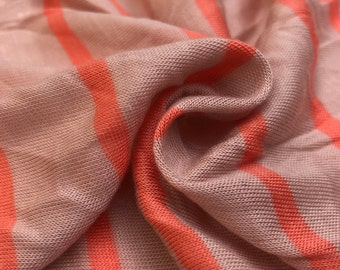 "62"" Pink & Orange Striped 100% Polyester Knit Fabric By the Yard"