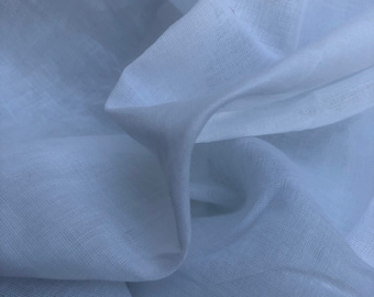 "46"" 100% Organic Cotton Voile White Woven Fabric By the Yard"