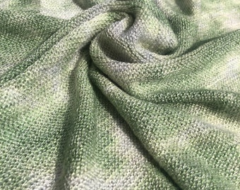 "56"" Acrylic Tie Dye Low Gauge Light Green & White Medium Weight Knit Fabric By the Yard"