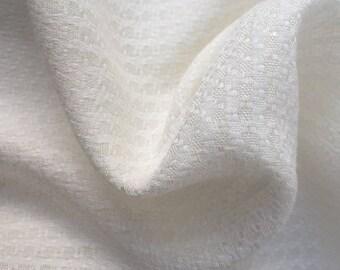 "58"" PFD 100% Lyocell Tencel Jacquard Checkered Design Medium Weight Organic Off-White Woven Fabric By the Yard"