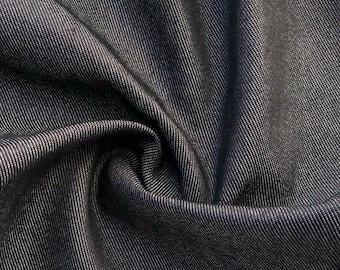 "54"" Cotton Spandex Lycra Stretch Dark Black Denim 10 OZ Woven Fabric By the Yard"