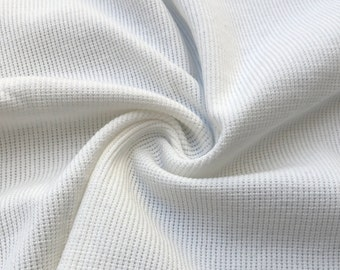 "58"" 100% Cotton PFD White Baby Thermal Knit Fabric By the Yard"