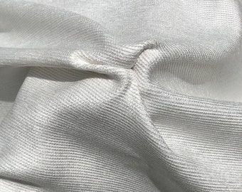 """60"""" 100% Cotton Baby Chenille 6.5 OZ White Apparel Woven Fabric By the Yard"""