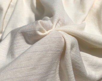 "58"" PFD Organic Cotton Striped Laundered Mechanic Stretch Ivory White Apparel Knit Fabric By the Yard"