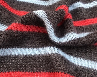 "64"" Striped 100% Acrylic Blue Red & Gray Yarn Dyed Double Sweater Knit Fabric By the Yard"