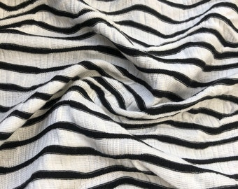 "52"" Rayon Spandex Lycra Stretch Black & White Ikat Chevron Diagonal Striped Jacquard Knit Fabric By the Yard"