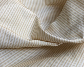 """56"""" 100% Silk Striped Light Weight Golden Yellow & White Woven Fabric By the Half-Yard"""