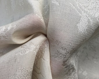 "62"" Cotton Rayon Satin Floral Jacquard PFD Ivory White Woven Fabric By the Yard"